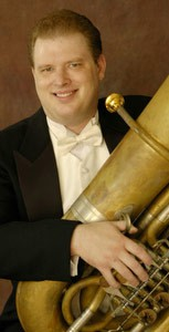 Tuba player Jc Sherman for whom Concerto for Tubameister was commissioned at world premiere in Vancouver, September 2008.